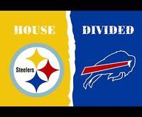 PITTSBURGH STEELERS vs BUFFALO BILLS 3x5 FEET Flag Banner HOUSE DIVIDED NFL NEW