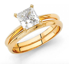 1.30 Ct Princess Engagement Wedding Ring Set Real 14K Yellow Gold Matching Band