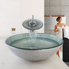 Modern Bathroom Tempered Glass Sink Basin Bowl Waterfall Mixer Laundry faucet