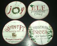 "(4) Pier 1 Imports Rustic Christmas 8"" Salad Plates"