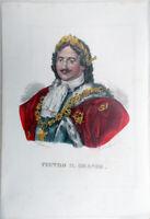 ✅ litografia incisione Dolfino acquerello 1841 PIETRO IL GRANDE con descrizione