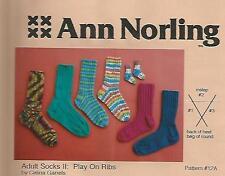 Adult Socks #2 Play on Ribs Newborn Knitting Instruction Pattern Ann Norling
