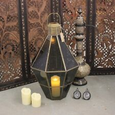 Talao Antiqued Brass Glass Style Lantern Shabby Chic Showpiece Vintage Large