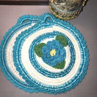 Set of 2 Vintage Hand Crocheted Doilies 3D Turquoise Sparkle Flowers Hanger EUC