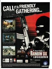 Original Retro 2005 Tom Clancy's Rainbow Six Lockdown video game print ad