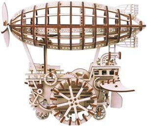 ROKR 3D Puzzle Brain Teaser Games Wooden Laser-Cut Kit Engineerin Air Vehicle