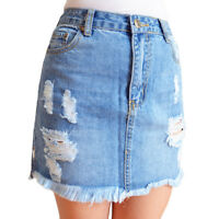 WAKEE BLUE DENIM SKIRT WITH RIPS & FRAYED HEM. SIZE 6-16.