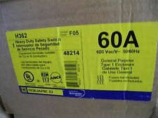 Square D H362 Heavy Duty Safety Switch Series F05, 60A 600VAC 50/60HZ Type1- NEW