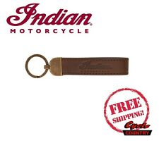 GENUINE INDIAN MOTORCYCLE BRAND BROWN SCRIPT LEATHER KEYRING KEYCHAIN NEW SCOUT