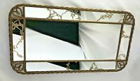 "VINTAGE MIRROR TRAY W/ GOLD VEINED MIRROR GOLD METAL TWISTED WIRE FRAME 15"" X 8"