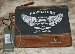 "Myra Bags #1020 Adventure Begins Leather, Canvas 9.5""x7.5"" Pouch Wristlet Clutch"