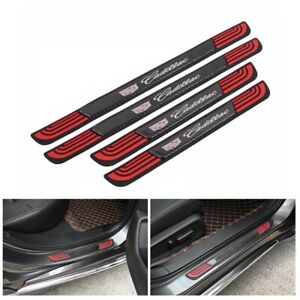 4PCS Rubber+Carbon Car Door Scuff Sill Cover Panel Step Protector For Cadillac