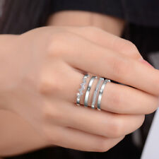 Muye 925 Sterling Silver 4 Layer Crystal Ring For Women Fashion Jewelry Size 8