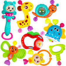 8Pcs/set Portable Baby Rattles Teether Shaker Grab and Spin Rattle Toy Set