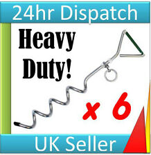 6 x TENT or AWNING PEG PEGS SPIRAL STAKE ANCHOR SCREW TIE DOWN RING Recorded Del