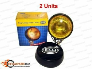 Pair Universal Genuine Hella Round Fog Lamp Yellow Glass + Cover Without Bulb