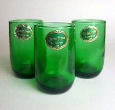 Anchor Hocking Forest Green 5 oz Glass Juice Tumblers Roly Poly Cups with Labels