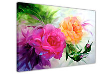 Pink and Yellow Flowers Canvas Wall Art Prints Oil Painting Re-Print Pictures