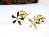 585 Gold kleine Blümchen Ohrstecker   1 Paar 6,5 mm Grösse mit Zirkonia Steinen