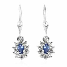 TJC Burmese Blue Sapphire and Zircon Drop Dangle Earrings in Platinum Plated...