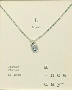 A New Day Silver Plated Necklace Minimalist Loyal L Chain Link Fashion Necklace