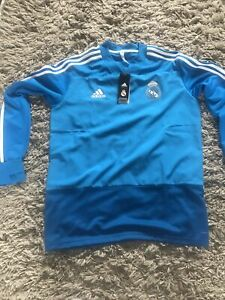 Real Madrid Football Training Top Blue New with Tags Size L