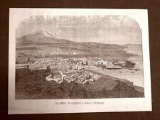 Rara veduta a volo d'uccello della città di Catania del 1865 Sicilia