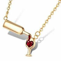 Women Fashion Wine Glass Crystal Rhinestone Heart Pendant Necklace Choker