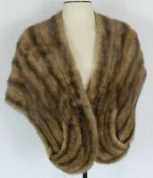 Vintage Women Fur Stole Light Brown Pockets Lined Cape Wrap Shawl Collar Capelet