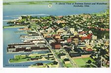 LINEN Postcard   AERIAL VIEW OF BUSINESS DISTRICT AND WATER FRONT, SANDUSKY, OH