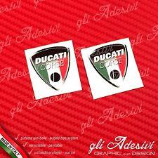 2 Adesivi Resinati Sticker 3D Ducati Corse Old Tricolore Italia 30 mm