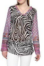 Geblümte Damenblusen,-Tops & -Shirts im Tuniken-Stil mit V-Ausschnitt für Freizeit