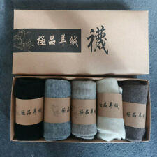 5 pairs 100% Mongolia Pure Cashmere Wool Men Men Unisex Socks Crew Mid-calf
