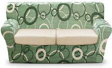 COPRIDIVANO 3 posti x DIVANO copri divano millerighe cm 230 CERCHI ottoman verde
