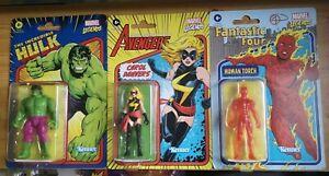 "Marvel Legends Retro 3.75"" Figures, Human Torch, Hulk & Carol Danvers, Brand..."