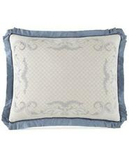 Waterford Folie King Pillow Sham Only! Cotton/Silk Beige/Blue Luxury