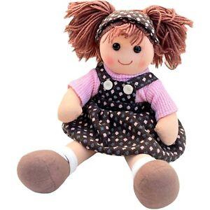 RAG DOLL Brown Hair Soft Toy Pink Top Polka Dot Dress Headband 40cm