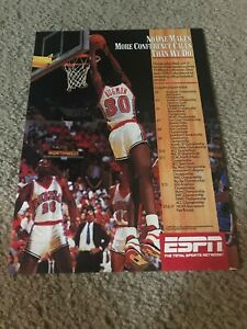 Vintage 1990 ESPN COLLEGE BASKETBALL Poster Print Ad STACY AUGMON UNLV REBELS