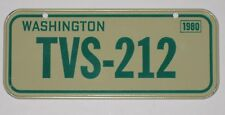 "WASHINGTON "" TVS-212 "" - BICYCLE LICENSE PLATE - 1980 - CEREAL PREMIUM"