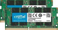 NEW Crucial 16GB Kit (8GBx2) DDR4 2400MHz PC4-19200 SODIMM 260-Pin Laptop Memory