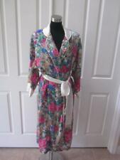 Vtg 80's Victoria's Secret Multi Color Flower Long Robe w/ Fringed Belt Sz S