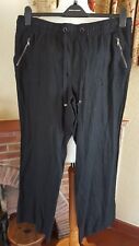BLACK LINEN MIX SUMMER ELASTICATED TROUSERS - SIZE 18 GEORGE -SUMMER