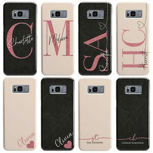 Personalised Black Marble & Peach Glitter Name Heart Phone Case for Galaxy Model