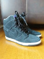 NIKE DUNK SKY HI HIGH-TOP 528899-014 BLACK/SUEDE WEDGE SHOE BOOTS SIZE 6.5