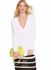 NWT DKNY DONNA KARAN SzS OVERSIZED V-NECK PULLOVER SWEATER IN WHITE. $195