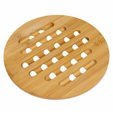 Round Bamboo Wood Trivet Kitchen Worktop Surface Protector Kettle Stand Hot Pan
