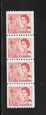 CANADA CENT. DEFIN. QUEEN ELIZABETH II 4 CENTS COIL STRIP of 4 # 467