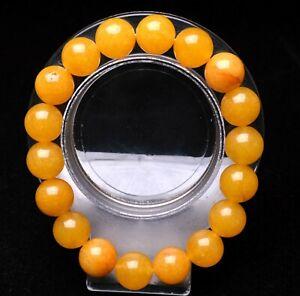 12mm Natural Yellow Golden Silk Jade Gemstone Round Beads Bracelet AAA