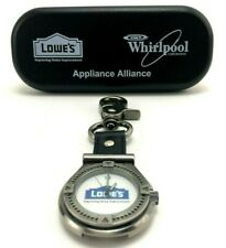 Vintage Lowe's Clip-On Watch - Black Leather, Pewter Finish, White Face