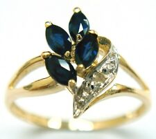 SYJEWELLERY 9CT YELLOW GOLD MARQUISE NATURAL SAPPHIRE & DIAMOND RING   R1045